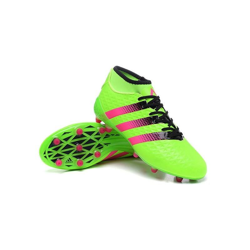 Nuovo 2016 adidas Scarpe da Calcio ACE 16.1 Primeknit FGAG Verde Rosa