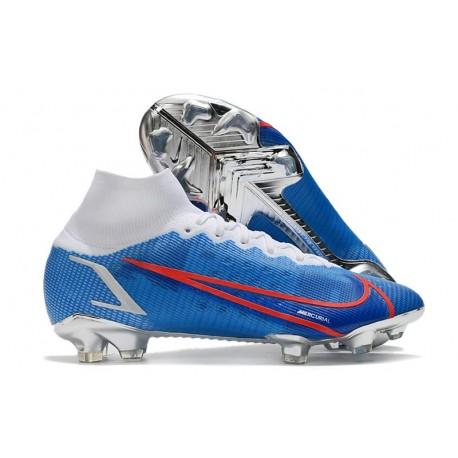 Scarpe Nike Mercurial Superfly 8 Elite DF FG Blu Bianco Rosso