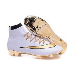 Nuove Scrape da Calcio Ronaldo Nike Mercurial Superfly FG Bianco Oro