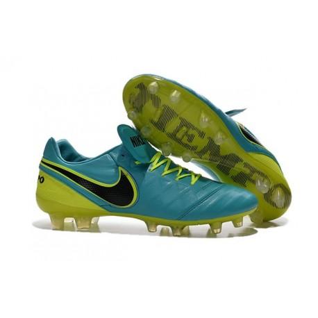 Nuovo Scarpe da Calcetto Nike Tiempo Legend 6 FG Uomo Blu Volt Nero 019984e87278