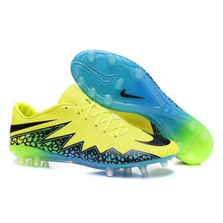 Scarpe da Calcio Uomo 2015 Nike Hypervenom Phinish FG Volt Blu Nero