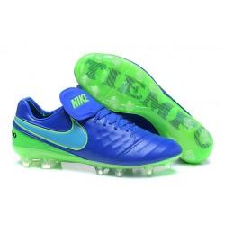 Scarpa Calcio Nuovi Nike Tiempo Legend VI FG Con Tacchetti Blu Verde