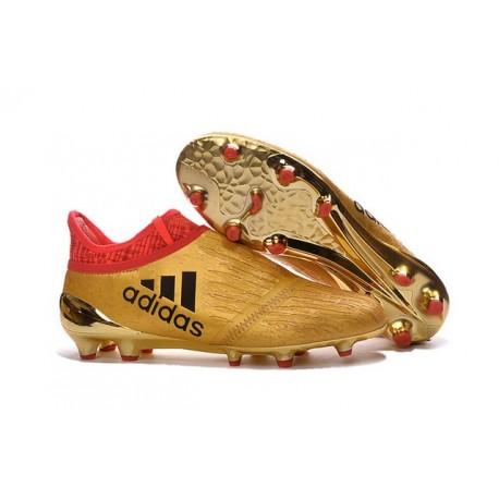 Adidas X 16+ Purechaos FG Nuovo Scarpa da Calcio Oro Nero Rosso