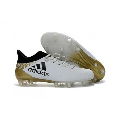 Scarpa da Calcio Nuovo 2016 Adidas X 16.1 FG Bianco Nero Oro