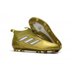 adidas Nuove ACE 17+ PureControl Laceless FG Scarpe (Oro Bianco)