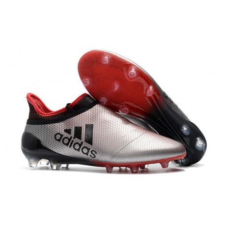 Scarpe Uomo Adidas X 17+ Purespeed FG Argento Rosso