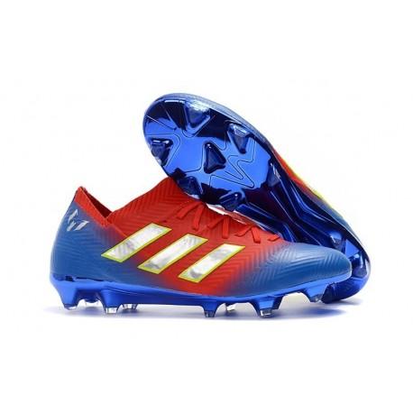Adidas Nemeziz Messi 18.1 FG Scarpa Coppa del Mondo - Rosso Blu Argento